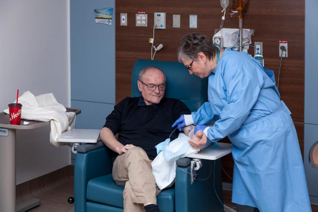 Man receiving treatmant in Wingham's Oncology Department